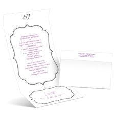 Graceful Frame Ebony Seal and Send Wedding Black Wedding Invitation