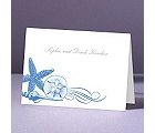 Starfish and Seashells - Ocean - Thank You Note Folder and Envelope