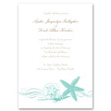 Starfish and Seashells Lagoon Wedding Invitation