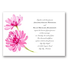 Watercolor Peony Lipstick Wedding Invitation