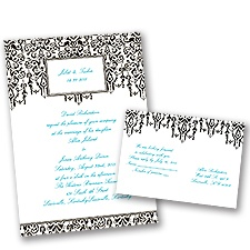 Chandelier Chic Ebony Black Wedding Invitation with Free Response Postcard