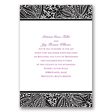 Blossoming Beauty Ebony Black Wedding Invitation