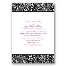 Blossoming Beauty Ebony Black Wedding Invitation