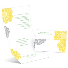 Pop of Floral Canary Seal and Send Wedding Invitation