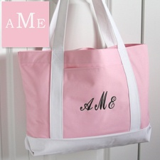 Pink and White Tote - Personalized