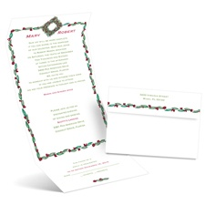 Holly Wreath Seal and Send Wedding Invitation