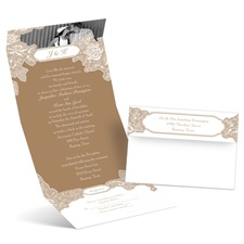 Romantic Details Photo Brown Wedding Invitation