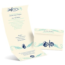 Perfect Waves Ecru Seal and Send Wedding Invitation