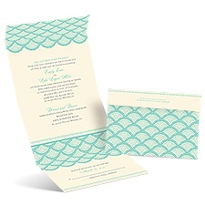 Scalloped Lace Ecru Seal and Send Wedding Invitation