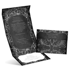 Chalkboard Flourish Seal and Send Wedding Invitation
