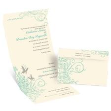 Butterflies Ecru Seal and Send Wedding Invitation