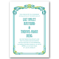 Art Nouveau Blue Wedding Invitation