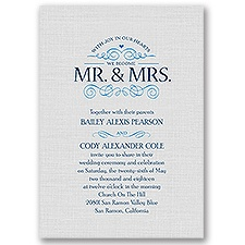 Joyful Heart Blue Wedding Invitation