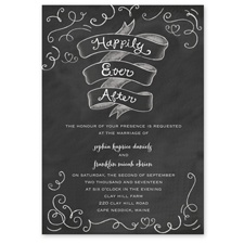 Chalkboard Love Story Black Wedding Invitation