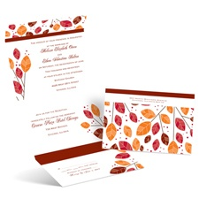 Modern Leaves Seal and Send Wedding Invitation