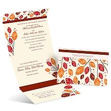 Modern Leaves Ecru Seal and Send Wedding Invitation
