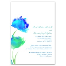 Floral Splash - Peacock - Invitation