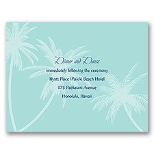 Palm Tree Canopy - Aqua - Reception Card