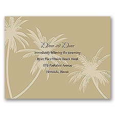 Palm Tree Canopy - Champagne - Reception Card