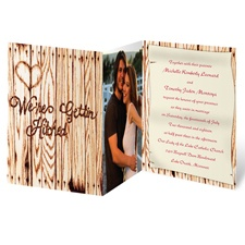 Gettin' Hitched Photo Brown Wedding Invitation