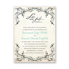 Blossoming Love Petite Blue Wedding Invitation