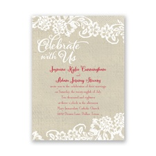 Country Details Petite Brown Wedding Invitation