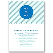 Circle of Love Blue Wedding Invitation