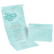 Forever in Love Seal and Send Blue Wedding Invitation