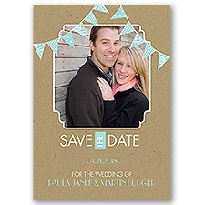 Patterned Pennants Save the Date