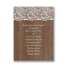 Woodgrain and Lace Petite Vintage Wedding Invitation