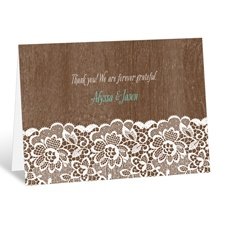 Woodgrain and Lace - Thank You Card
