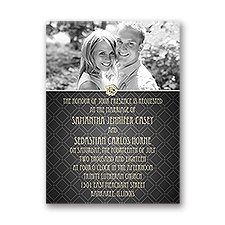 Rose Border Petite Wedding Invitation