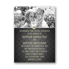 Rose Border Petite Wedding Invitation
