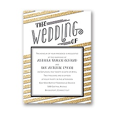 Gold Stripes Faux Glitter Petite Wedding Invitation
