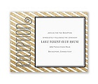 Gold Stripes - Faux Glitter - Reception Card