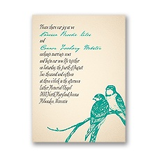 Perched Lovebirds Petite Wedding Invitation