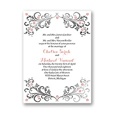 Flowers and Filigree Petite Wedding Invitation