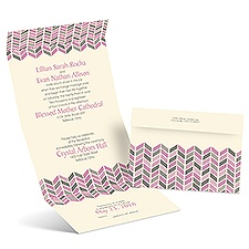 Feathered Chevron Ecru Seal and Send Wedding Invitation