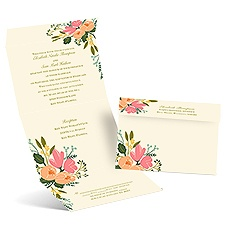 Painted Petals Ecru Seal and Send Wedding Invitation