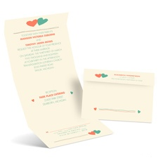 Funky Hearts Ecru Seal and Send Wedding Invitation