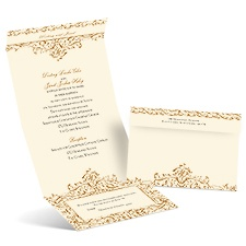Victorian Romance Ecru Seal and Send Vintage Wedding Invitation