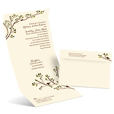 Spring Birds Ecru Seal and Send Wedding Invitation