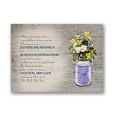 Pretty Pansies Petite Wedding Invitation