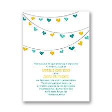 Lovely Garland Petite Gold Wedding Invitation