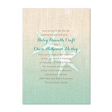 Starfish and Burlap Destination Wedding Invitation