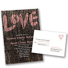 Painted Love Wedding Invitation with Free Response Postcard