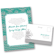 Elegant Patterns Wedding Invitation with Free Response Postcard