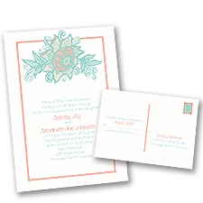 Young Rose Wedding Invitation with Free Response Postcard
