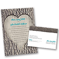 Carved Heart Wedding Invitation with Free Response Postcard