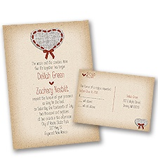 Burlap and Ribbon Wedding Invitation with Free Response Postcard